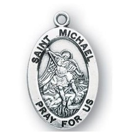 """HMH Religious Saint Michael Archangel Sterling Silver Medal-Pendant With 20"""" Chain Necklace"""