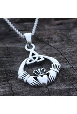 """Bliss Manufacturing Sterling Silver Claddagh Pendant with LRH 18"""" LT CURB f Sterling Silver Maltese Crucifix on 18"""" Chain"""