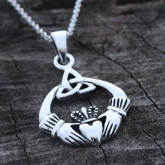 "Bliss Manufacturing Sterling Silver Claddagh Pendant with LRH 18"" LT CURB f Sterling Silver Maltese Crucifix on 18"" Chain"