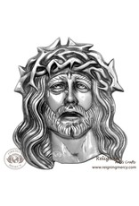 "Oremus Mercy Pewter Jesus Face Wall Plaque 11"" x 9"""