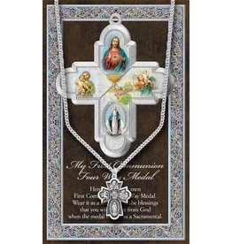 WJ Hirten Pewter First Communion 4 Way Medal
