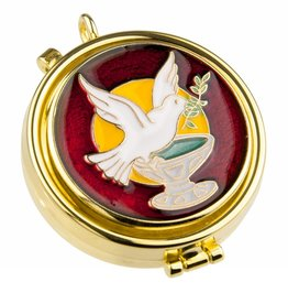 WJ Hirten Red Enameled Holy Spirit Pyx (Holds 7 Hosts)