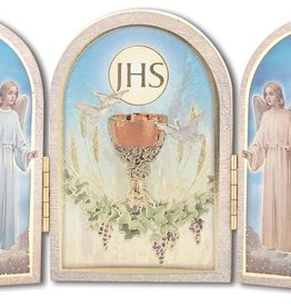 "WJ Hirten 5"" x 3"" Wooden Holy Communion Triptych"