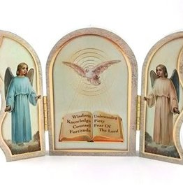 """WJ Hirten 5"""" x 3"""" Seven Gifts of the Holy Spirit Confirmation Triptych"""