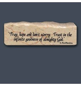 Holy Land Stone Pray, hope and don't worry - Inspirational/Scripture Stone