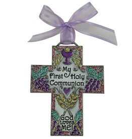 Cathedral Art First Communion Metal Wall Cross, 4-1/2-Inch