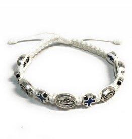 Abundant Blessings Miraculous Medal and Cross Corded Bracelet - White