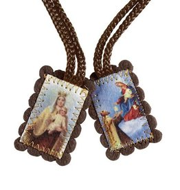 Christian Brands Small Brown Wool Scapular With Full Color Images