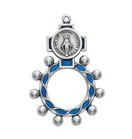 McVan Miraculous Medal Blue Enameled Finger Rosary