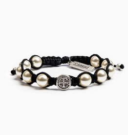 My Saint My Hero Divine Blessings White Pearl Bracelet - Black Cord/Silver Medal