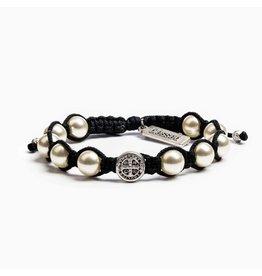 My Saint My Hero Divine Blessings White Pearl Bracelet - Black Cord/Silver Medal
