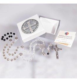 WJ Hirten 5x6mm Glass Crystal Bead St Benedict Tricolor Rosary