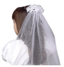 Devon Trading Company Girls First Communion Floral Beaded White Tulle Veil, 25 Inch