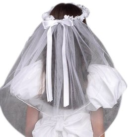 Devon Trading Company Girls First Communion White Tulle Veil with Beaded Flower Crown and Satin Bow, 22 Inch