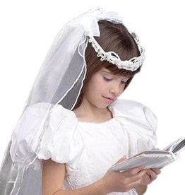 Devon Trading Company Girls First Communion White Tulle Veil with Beaded Crown and Satin Bow and Floral Details, 21 Inch