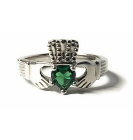 Bliss Manufacturing Sterling SIlver Claddagh Ring Emerald Size 6