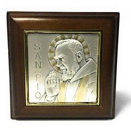HMH Religious Genuine Walnut Saint Pio Keepsake Box