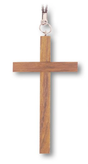 "WJ Hirten 4"" Stained Wood Cross on a 30"" Black Nylon Cord"