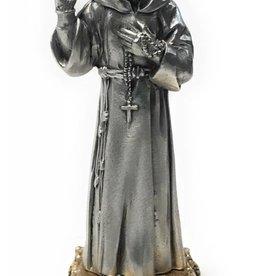 "WJ Hirten 4 1/2"" St. Pio Fine Pewter Statue on a Majestic Gold Tone Base"