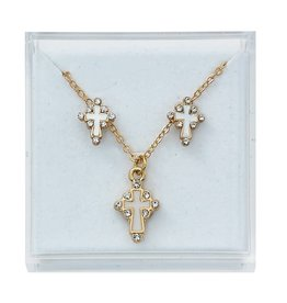 McVan Gold-toned cross enamel and stone earrings and pendant set