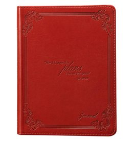 Christian Art and Gifts I Know the Plans - Jeremiah 29:11 Red Classic LuxLeather Journal