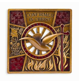 "Joseph's Studio 4.75"" Resin Bronze Finish Confirmation Wall Plaque"