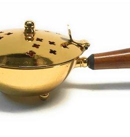 MDS Brass Wood Handle Incense Burner