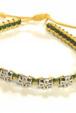 Abundant Blessings Green and Yellow Faith Bracelet Cross