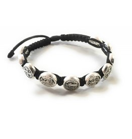Abundant Blessings St. Michael and St. Benedict Corded Bracelet - Black