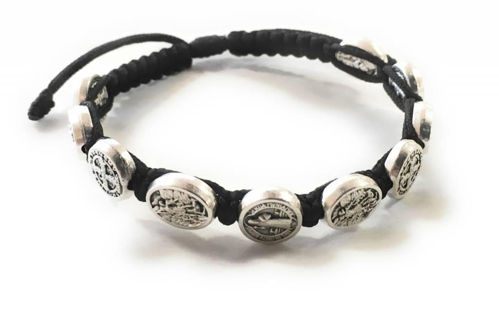 Abundant Blessings St. Michael and St. Benedict Corded Bracelet - Black