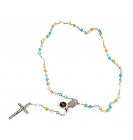 HMH Religious 6mm Tin Cut Multi Color Bead Rosary