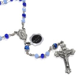 HMH Religious Blue Opal/Carribean Faceted 5mm Glass Bead Rosary
