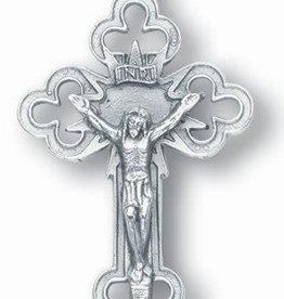 "WJ Hirten 1.5"" Silver Oxidized Palm Crucifix"