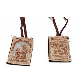 Religious Art Inc Brown Scapular with Brown Cord