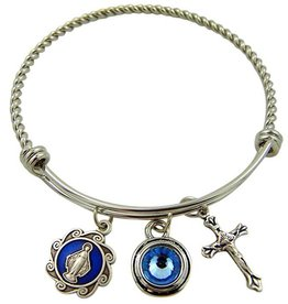 Devon Trading Company Circle of Faith Religious Stainless Steel Bangle Bracelet with Miraculous Medal Charms