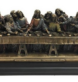 """Goldscheider of Vienna 14"""" x 4.5"""" x 6"""" Da Vinci Last Supper Bronze Lightly Hand Painted Statue"""