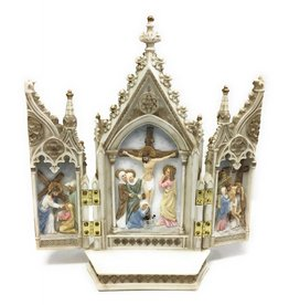 """Goldscheider of Vienna 7.25"""" x 8"""" Full Color Hand-Painted Calvary Triptych"""
