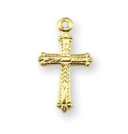 HMH Religious Gold Over Sterling Silver Detailed Cross