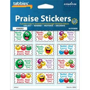 Tabbies Praise Stickers - Smile God Loves You