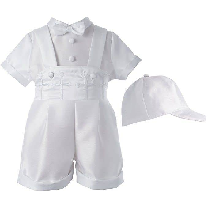 Lauren Madison Shantung Boxer Shorts with Cross Boy's Baptism Clothing Set [1523]