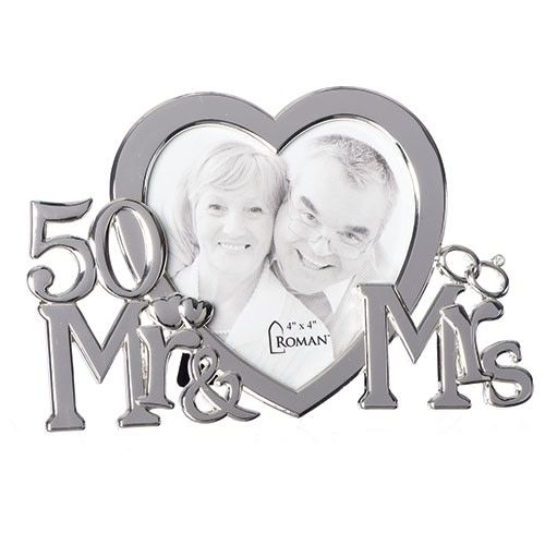Roman, Inc 50Th Anniversary Mr. & Mrs. Heart Shape Picture Frame