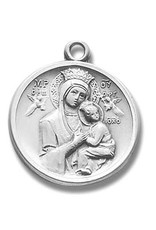"HMH Religious Sterling Silver Our Lady of Perpetual Help Medal with 18"" Chain"