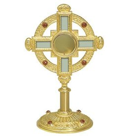"Koleys Inc. 13"" Tall Gold Plated Monstrance for 1-1/2"" Host"