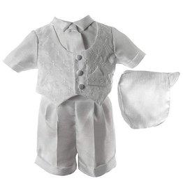 Lauren Madison Shantung Boxer Short with Brocade Vest Boy's Baptism Clothing Set [1431]