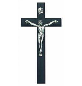 "HJ Sherman 10"" Black and Silver Crucifix"