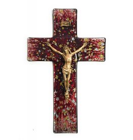 """WJ Hirten 10"""" Gold and Silver Random Speckle on Red Stained Glass Crucifix with Golden Corpus"""