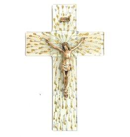 """WJ Hirten 10"""" Silver and Gold Splattered Glass Crucifix with Golden Corpus"""