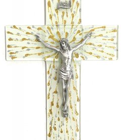 "WJ Hirten 10"" Silver and Gold Splattered Glass Crucifix with Pewter Corpus"