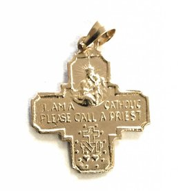 Wallace Brother manufacturing 14Kt Yellow Gold Double Sided Four Way Medal Religious Pendant