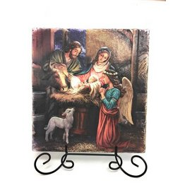 "Sacred Traditions 8"" Away in a Manger Tile Plaque"